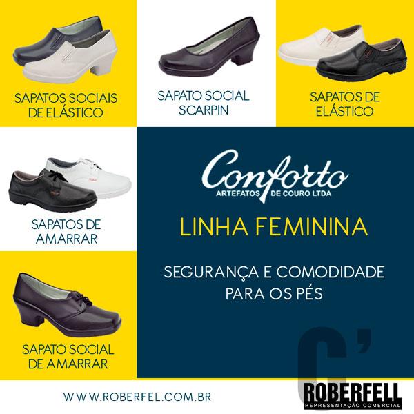 A Conforto possui calçados femininos de diversos tipos  social, casual,  industrial, de elástico e branco. Todos os modelos garantem conforto e  proteção aos ... d29aae9eb7