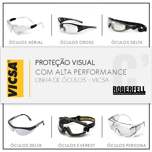 0fe7a75adf5fe Os óculos de segurança da Vicsa possuem lentes de proteção em policarbonato  com tratamento anti risco e anti embaçante. Ampla variedade de modelos que  ...